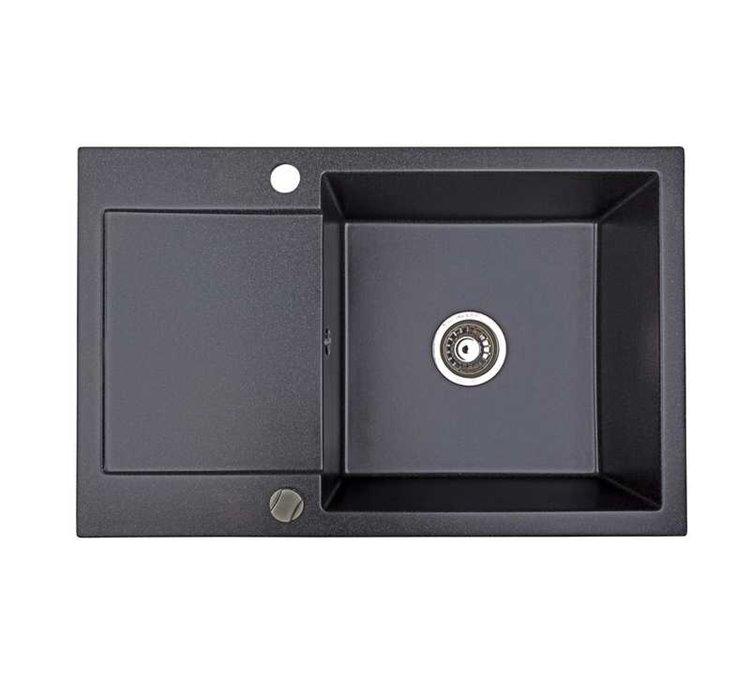 Évier Granit noir métalissé 1 bac Alkor CC 78 cm