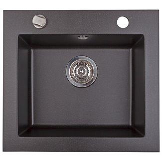 Évier Argo en Granit noir métallisé 1 bac 48.5 cm