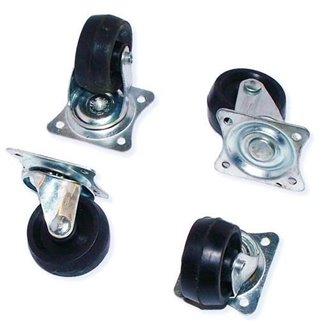 4 roulettes meuble caoutchouc noir 30 mm