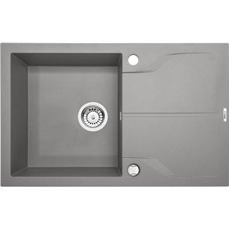 Évier 1 bac Andante Flush avec égouttoir gris métallique