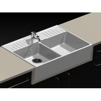 "Ceramic Sink 2 Trays ""Retro"" White."