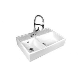 Keramik Waschbecken 2 Behälter Land Weiß