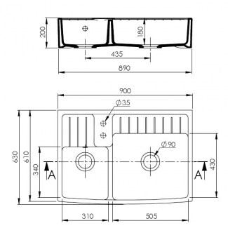 Ceramic Sink 2 White Barroque Bins