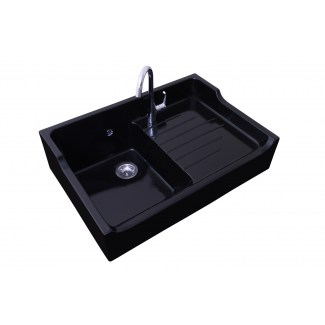 Ceramic Sink 1Bac + Drip tray Grand Siècle Black Sarreguemines.