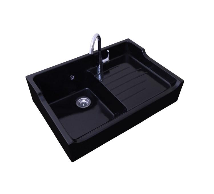 Ceramic Sink 1Bac + Drip tray Grand Siècle Black Sarreguemines.