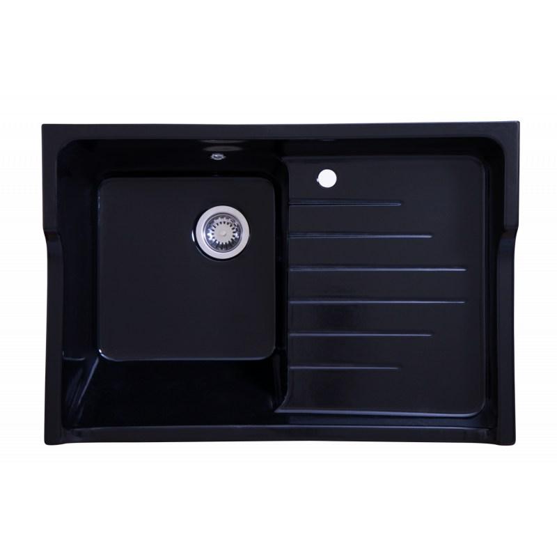 evier c ramique 1 bac egouttoir grand si cle noir timbre d 39 office. Black Bedroom Furniture Sets. Home Design Ideas