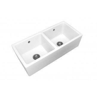 "Ceramic sink 2 Bins ""Belfast"" White."