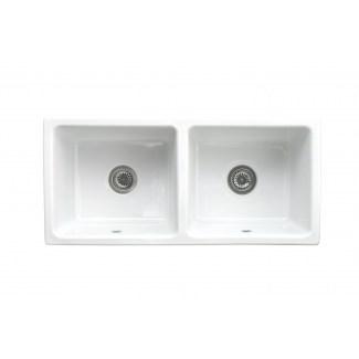 """Ceramic sink 2 Bins """"Belfast"""" White."""