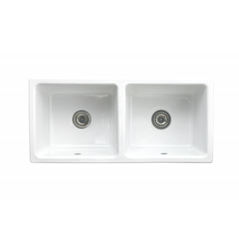 evier c ramique 2 bacs timbre d 39 office gamme belfast blanc. Black Bedroom Furniture Sets. Home Design Ideas