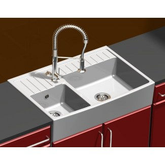 Ceramic Sink 2 White Barroque Bins