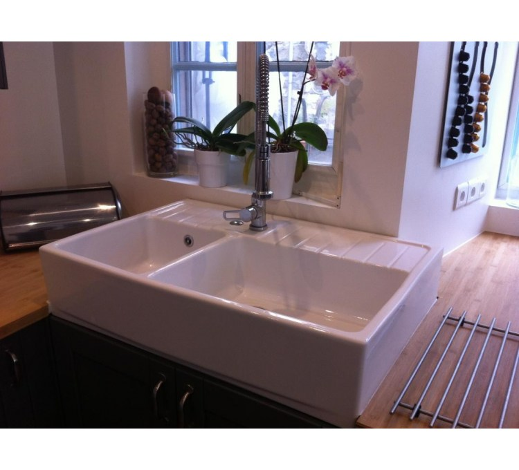 Ceramic Sink 2 Bins Timbre D Office Country White