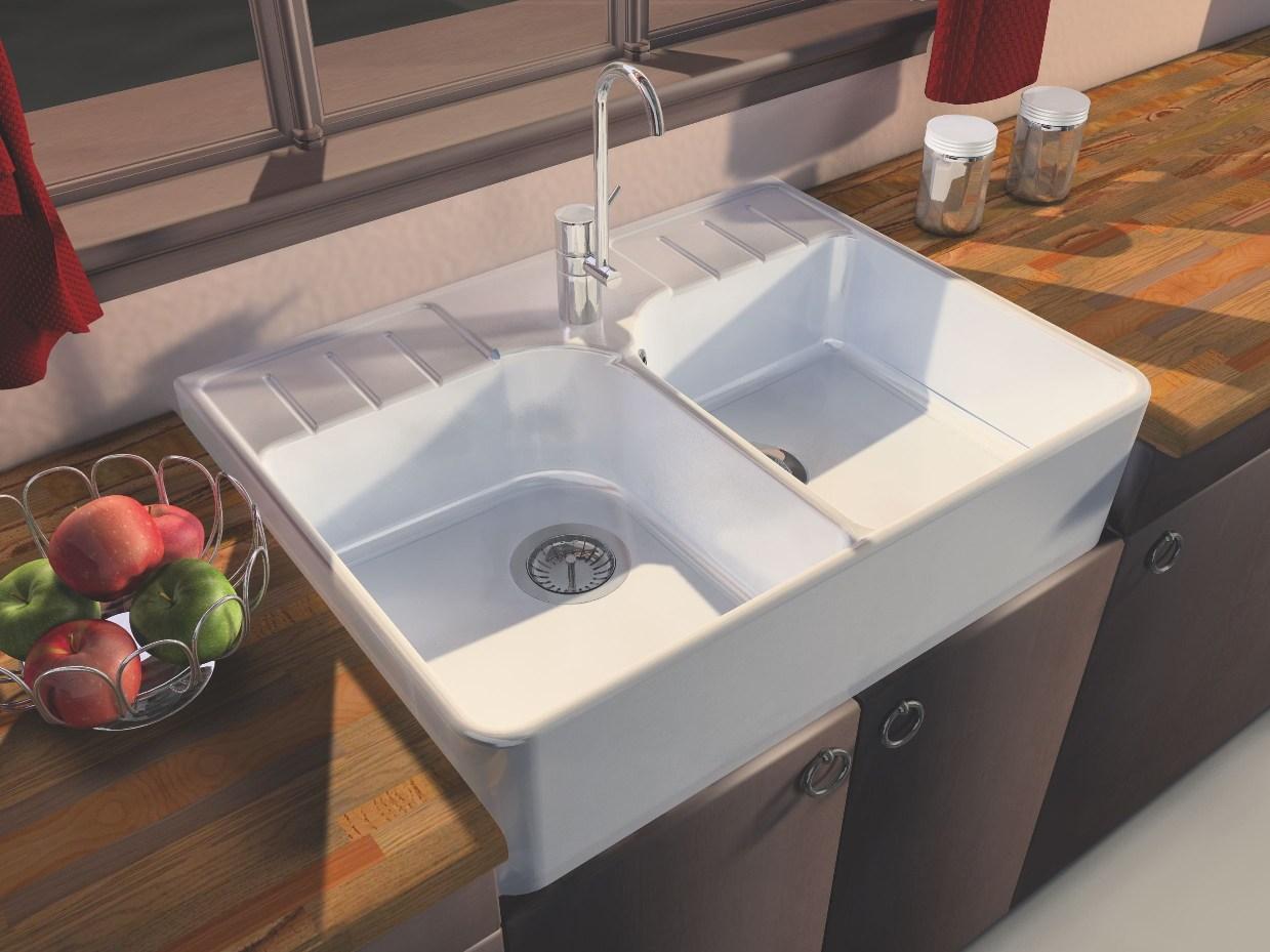 Ceramic Sink 2 Bins Timbre d\'Office Vendange White Sarreguemines