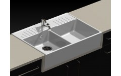 "Ceramic Sink 2 Trays ""Retro"" White."