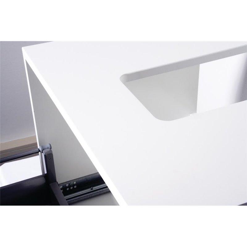 Meuble salle de bain blanc 73 cm sarr design - Meuble salle de bain design blanc ...