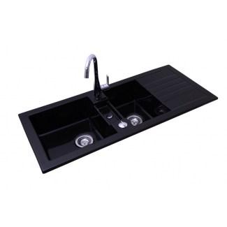 Evier Soft 2 cuves couleur noir en céramique