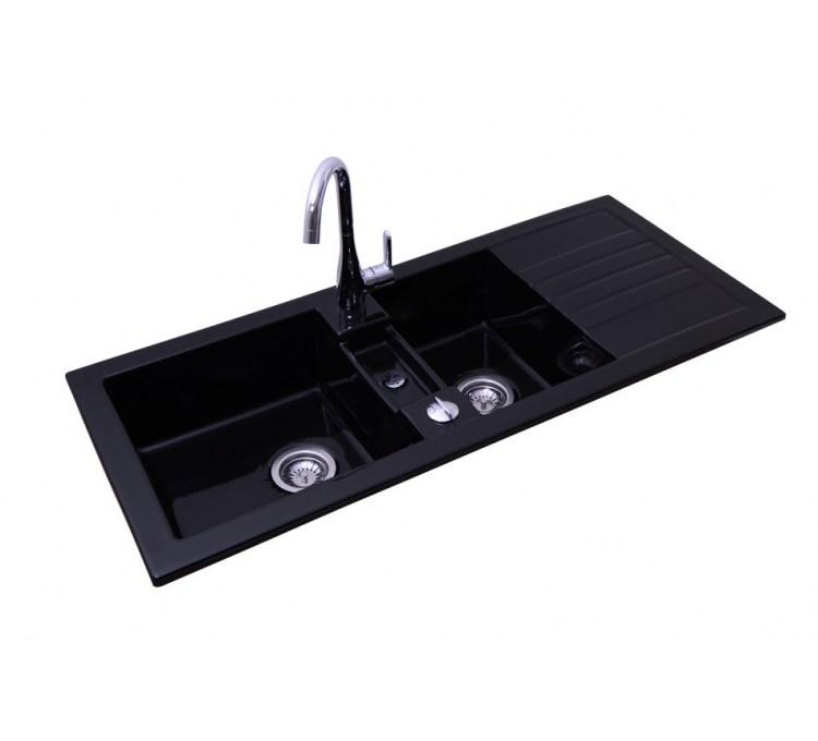 evier c ramique timbre d 39 office encastrable soft noir 2 bacs egouttoir. Black Bedroom Furniture Sets. Home Design Ideas