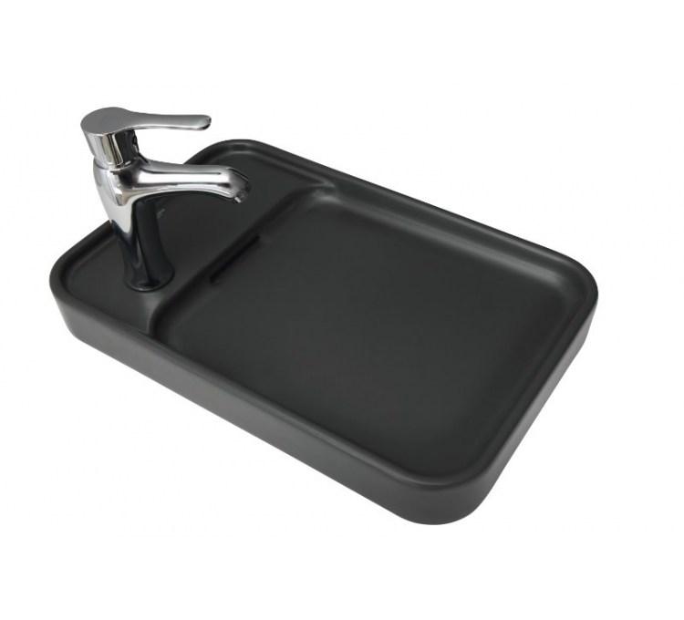"Vasque Céramique à Poser ""Pastille"" Anthracite"
