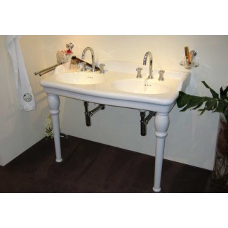 "Double Wash Basin Ceramic ""Luxor"" White.on Columns"