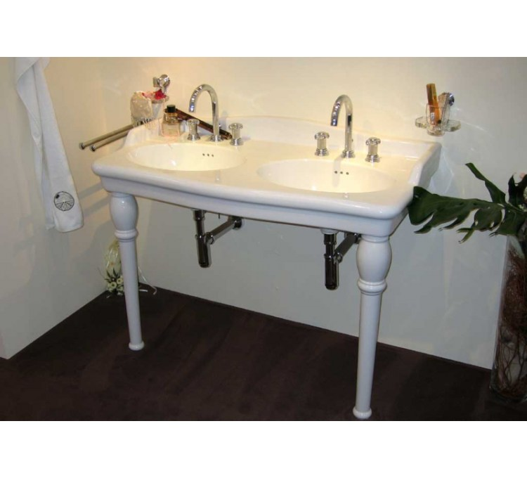 """Lavabo Double Vasques céramique""""Louxor""""Blanc"""