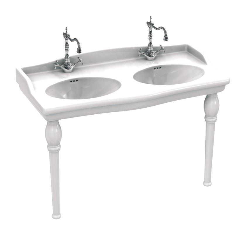 White Luxor Double Vasque Ceramic Wash Basin
