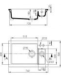 "Sink Ceramic built-in ""Ingot"" White 1.5 trays"