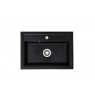 "Sink Ceramic built-in ""Pinacle"" Black 1Bac"