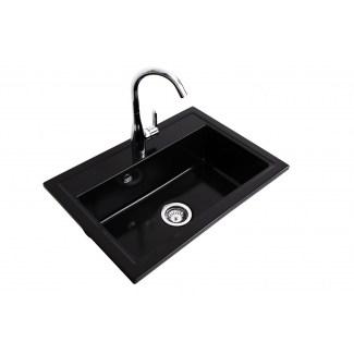 """Sink Ceramic built-in """"Pinacle"""" Black 1Bac"""