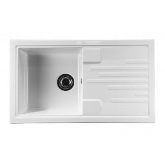 "Sink Ceramic built-in ""Fresh"" White 1bac +1 drainer"