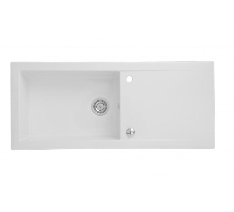 "Ceramic Sink ""Ingot"" White 1Cuve + Drainer"
