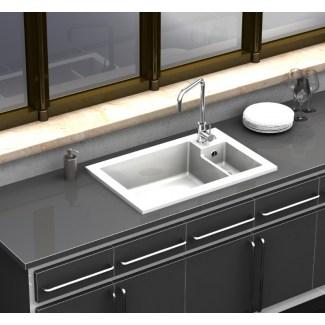 Evier Céramique Timbre d'Office à encastrer Lingot Blanc 2 Cuves Sarreguemines