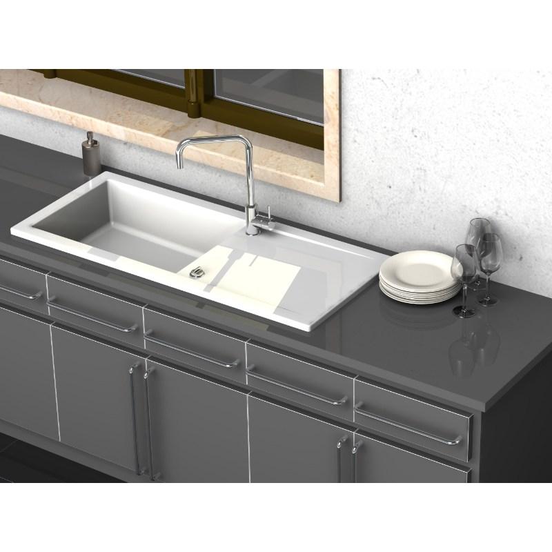 evier c ramique lingot blanc 1cuve egouttoir. Black Bedroom Furniture Sets. Home Design Ideas
