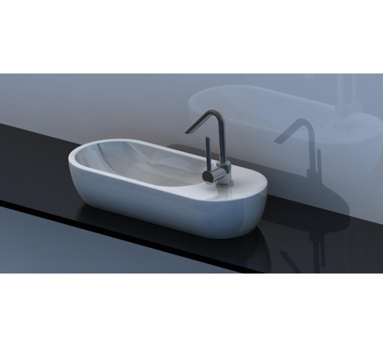 "Countertop ceramic washbasin ""Pirogue"" White"