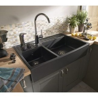 Ceramic Sink 2 Baroque Barts Anthracite Sarreguemines.