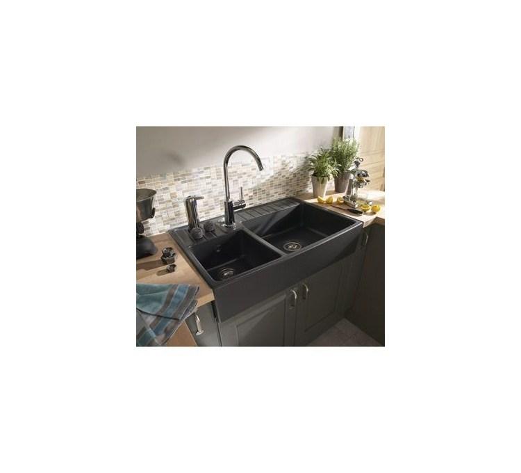 Evier c ramique 2 bacs timbre d 39 office baroque anthracite - Vide sanitaire meuble cuisine ...