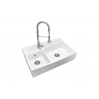 Ceramic Sink Service Stamp 2 Trays Epoque White.