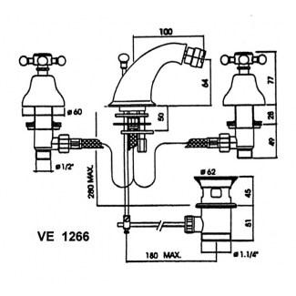 Kit Robinet Pour Bidet 3 Trous à Bec Fixe Et Rotule