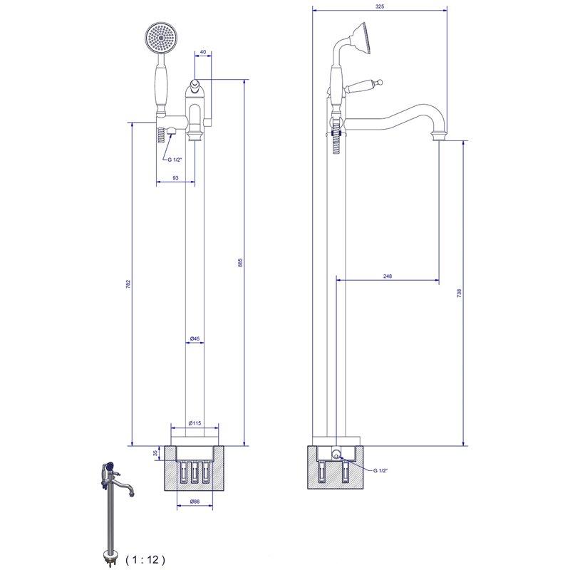 Mono colonne de plancher bain douche euronegoce - Colonne de bain douche ...