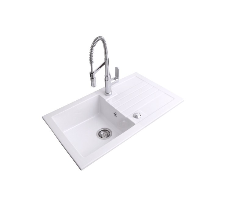 Evier Céramique Timbre D'office Soft Blanc 1bac