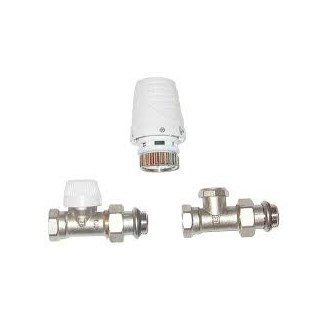 Kit complet corps et tete thermostatique - Kit droit 1/2""