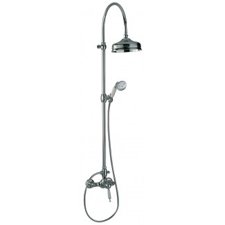 Retro shower column on mixer tap with diverter