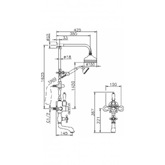 Columna de ducha fijada en termostático con desviador