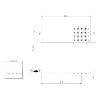 Duschkopf US Design Ø Soft 2 Jet Rain