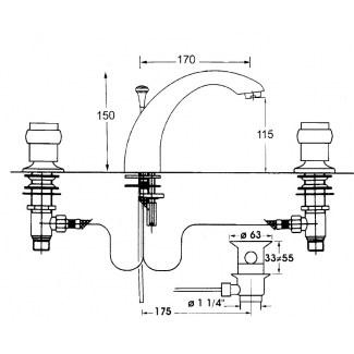 Mezclador de lavabo con 3 orificios Ixel