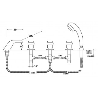 Mezclador de cascada 3 bis 5 agujeros con cabezal cerámico 1/4 de vuelta