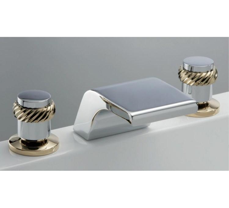 Miscelatore lavabo a cascata a 3 fori con testa in ceramica da 1/4 di giro