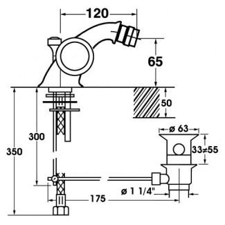 Miscelatore monoforo per bidet in ceramica 1/4 di giro