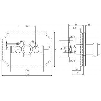 Comando doccia termostatico 3/4 60 L/mm