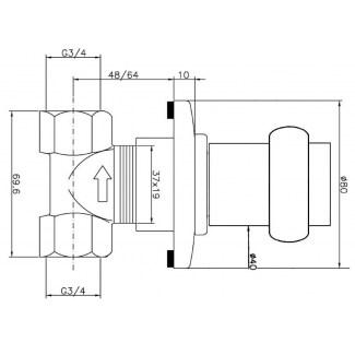 Thermostatische Duscharmatur zur Wandmontage FF 3/4