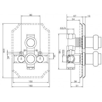 Robinet de douche encastré Thermostatique avec robinet d'arrêt
