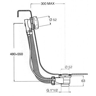 Entwässerung für Standardbadewanne mit Kabel